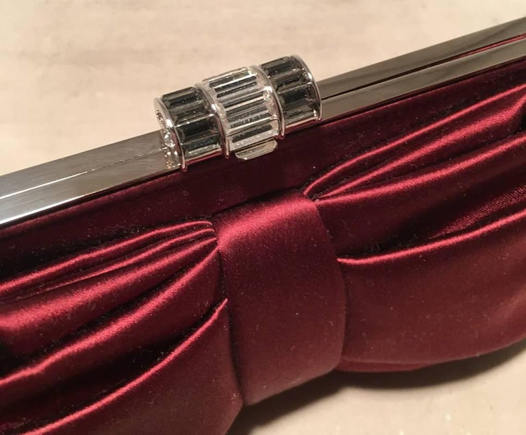 Women's Judith Leiber Dark Red Silk Satin Bow Front Clutch Evening Bag For Sale