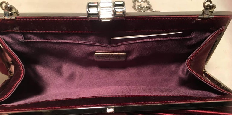 Judith Leiber Dark Red Silk Satin Bow Front Clutch Evening Bag For Sale 1
