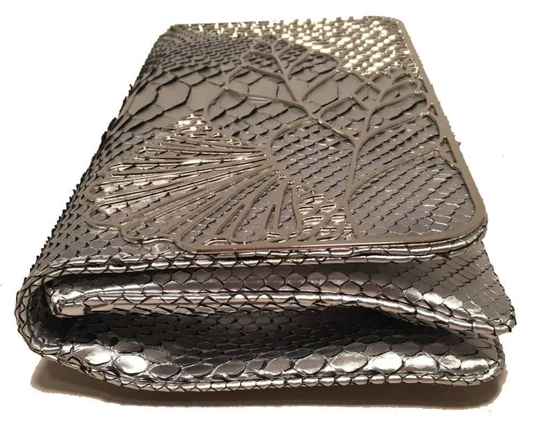 Beige Judith Leiber Silver Faux Snakeskin Python Clutch For Sale