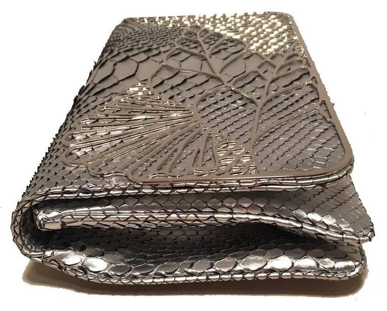 Beige Judith Leiber Silver Faux Snakeskin Python Clutch For Sale