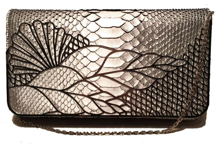 Judith Leiber Silver Faux Snakeskin Python Clutch For Sale 2