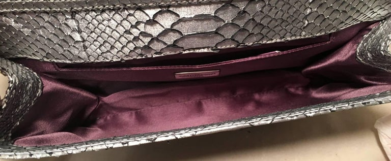 Women's Judith Leiber Silver Faux Snakeskin Python Clutch For Sale