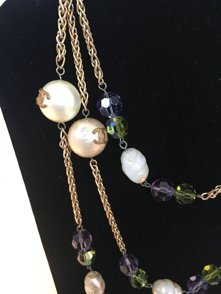 Chanel Vintage Large Pearls and Green and Purple Crystal Bead Gold Necklace  In Good Condition For Sale In Philadelphia, PA