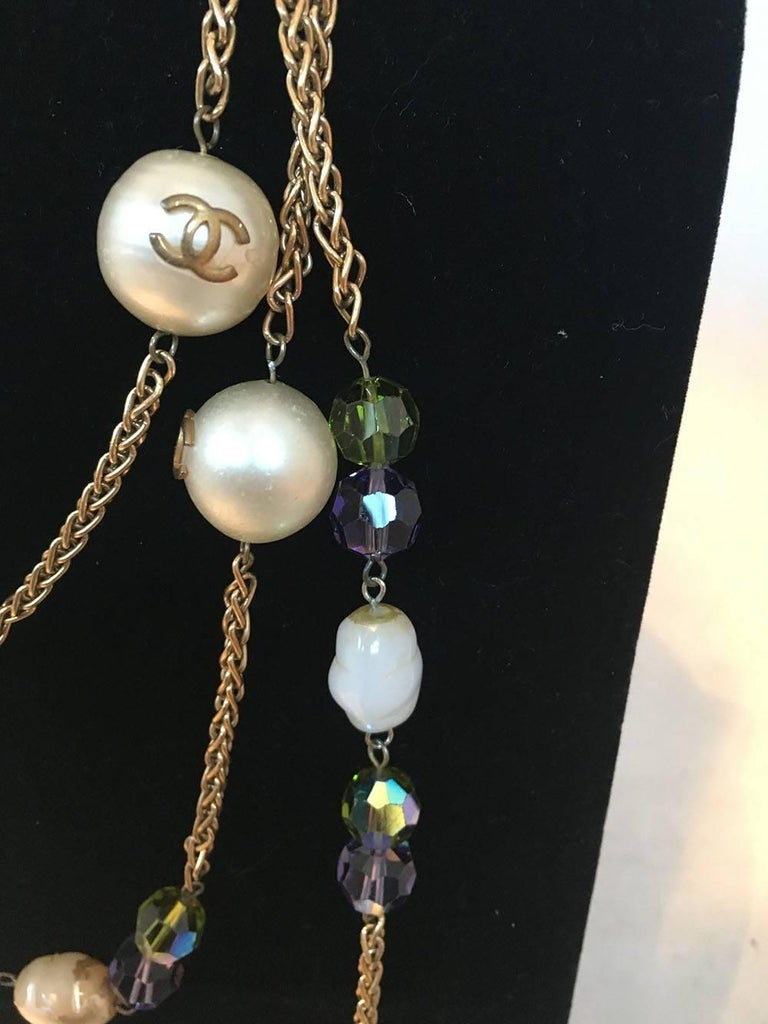 Women's Chanel Vintage Large Pearls and Green and Purple Crystal Bead Gold Necklace  For Sale