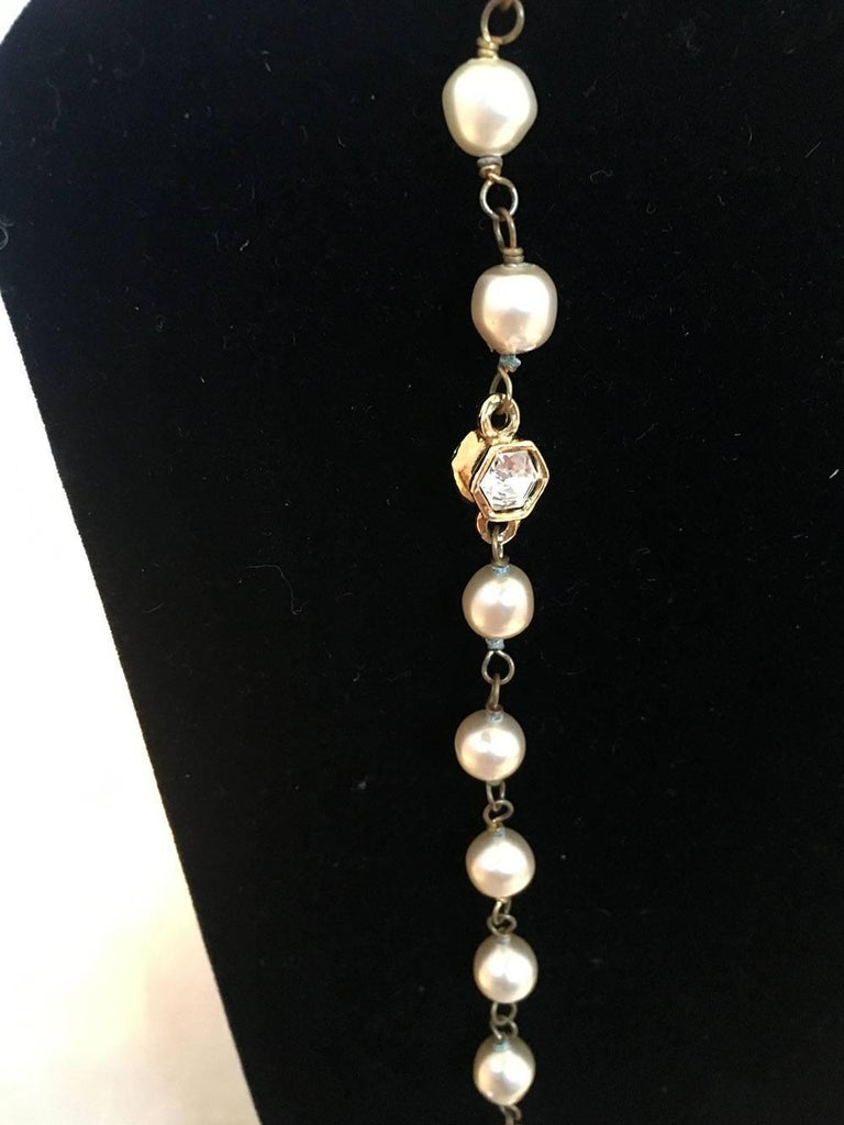 Women's Chanel Vintage Pearl and Small Crystal Beaded Necklace For Sale