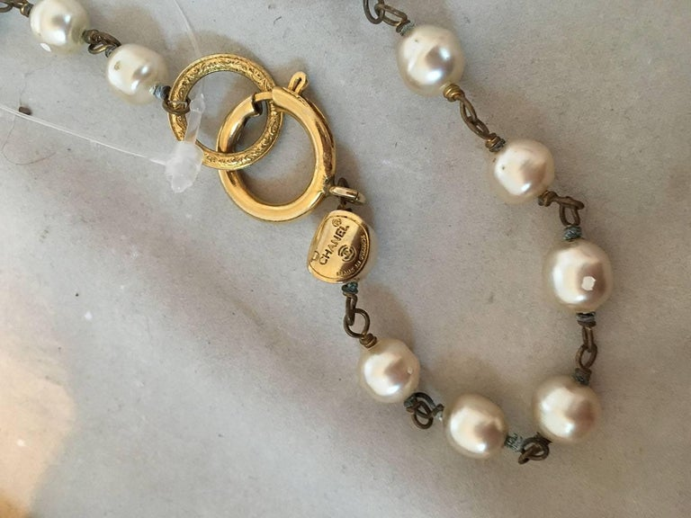 Chanel Vintage Pearl and Small Crystal Beaded Necklace For Sale 2