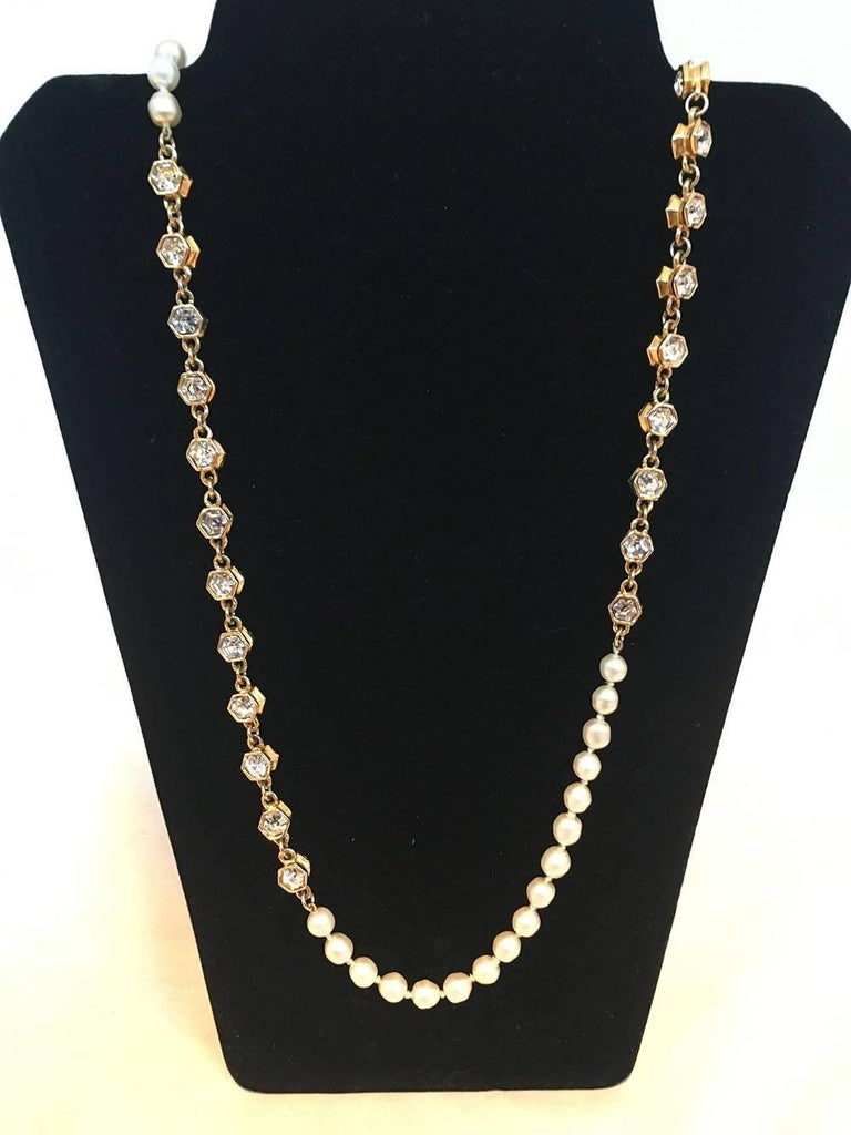 BEAUTIFUL Chanel Vintage Pearl and Crystal Beaded Necklace in excellent condition.  Round pearl beads with small gold hexagon crystal beads. This piece switches between 12 crystal beads and 17 pearls throughout. Can be worn long or wrapped for a