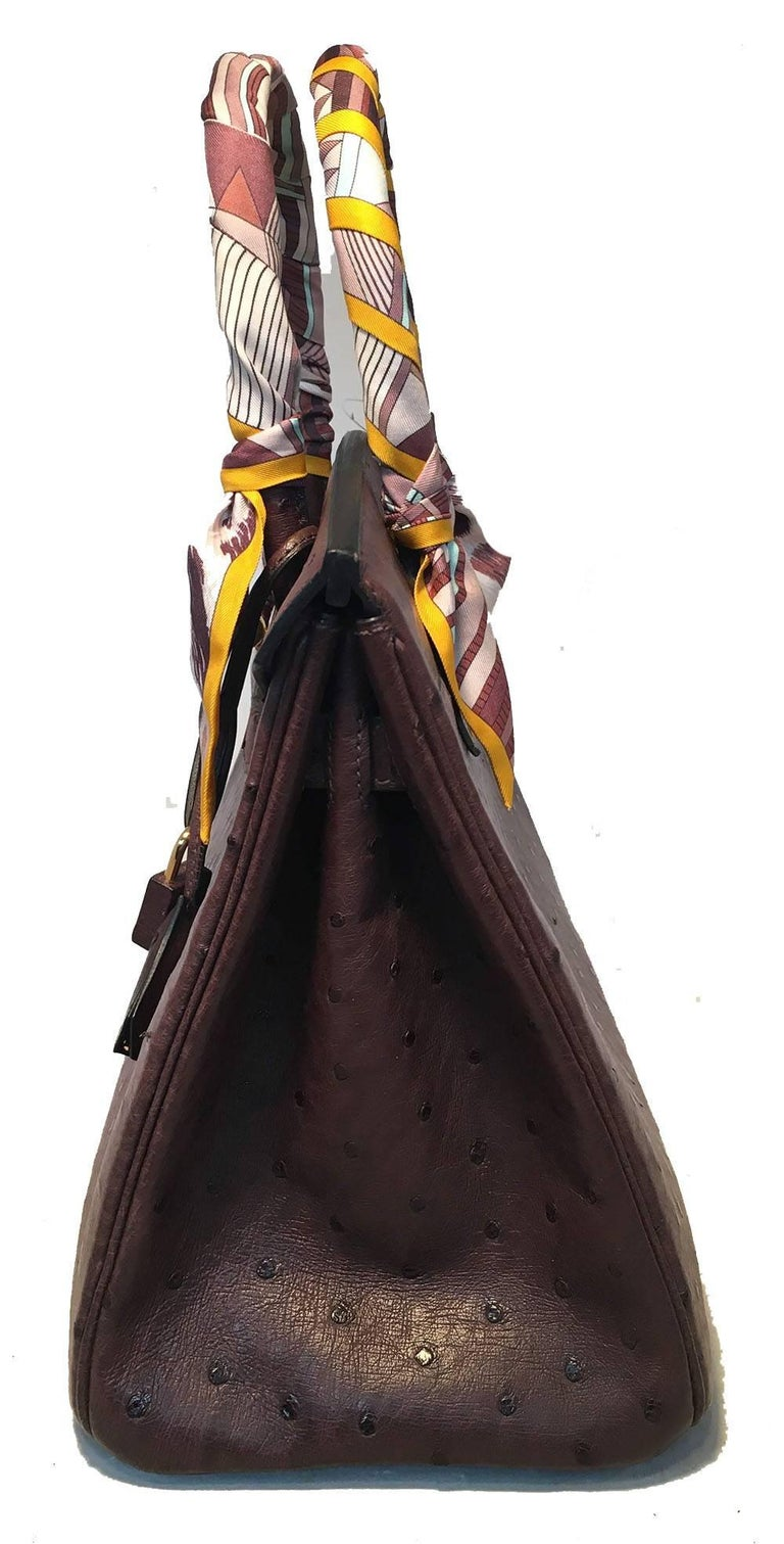Black STUNNING Hermes Brown Ostrich 30cm Birkin Bag For Sale