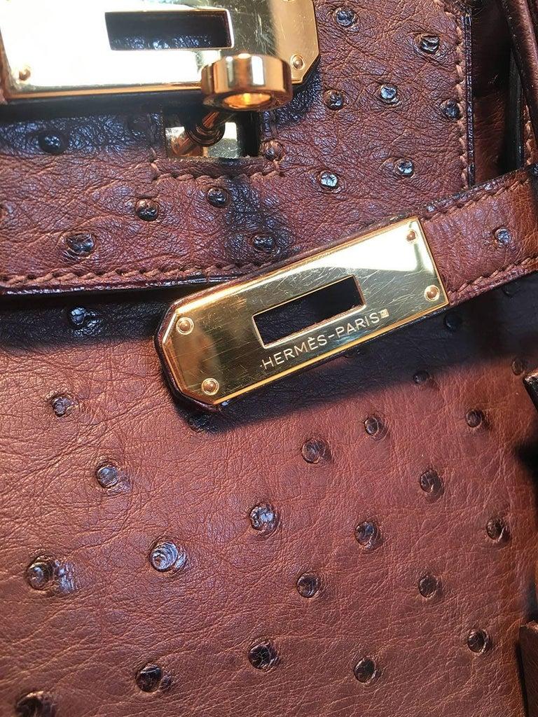STUNNING Hermes Brown Ostrich 30cm Birkin Bag For Sale 1