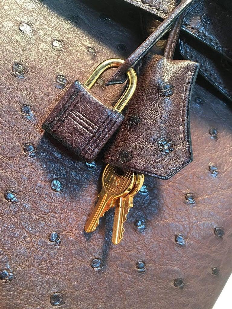STUNNING Hermes Brown Ostrich 30cm Birkin Bag For Sale 2