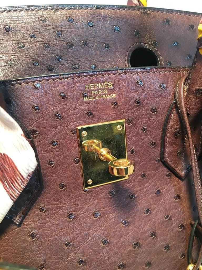STUNNING Hermes Brown Ostrich 30cm Birkin Bag For Sale 3