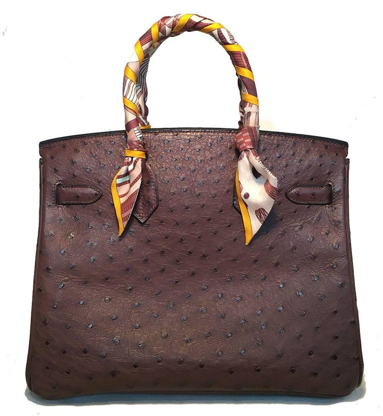 STUNNING Hermes Brown Ostrich 30cm Birkin Bag In Excellent Condition For Sale In Philadelphia, PA