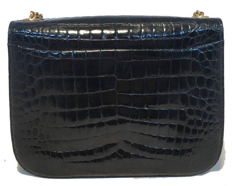 Black Gucci Vintage Navy Blue Alligator Shoulder Bag For Sale