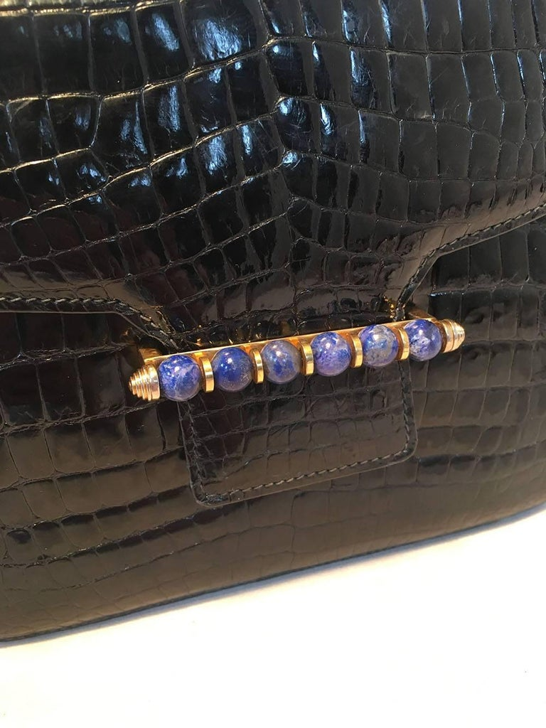 Gucci Vintage Navy Blue Alligator Shoulder Bag In Excellent Condition For Sale In Philadelphia, PA