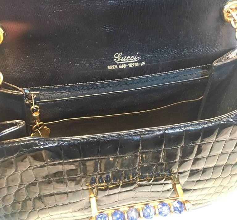 Gucci Vintage Navy Blue Alligator Shoulder Bag For Sale 1