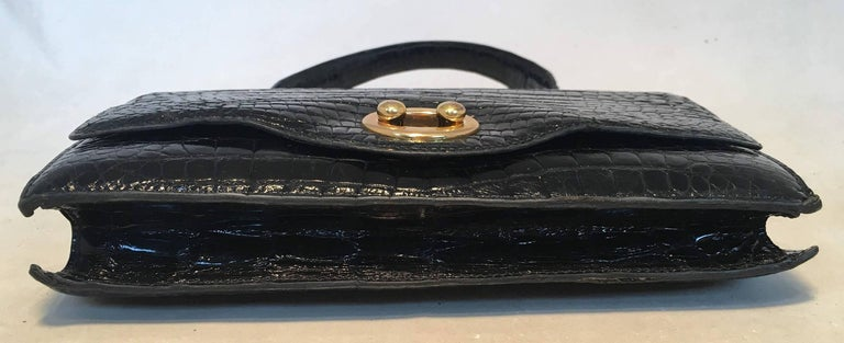 Women's Hermes Vintage Black Alligator Handbag, circa 1960s For Sale