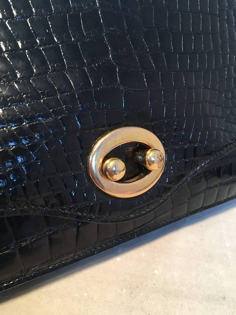 Hermes Vintage Black Alligator Handbag, circa 1960s For Sale 1