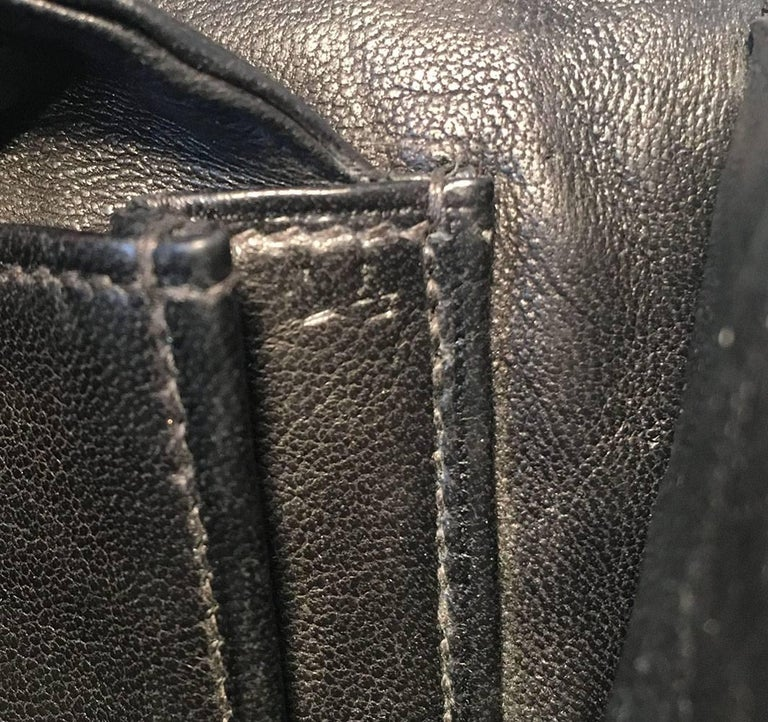 Hermes Vintage Black Alligator Handbag, circa 1960s For Sale 4