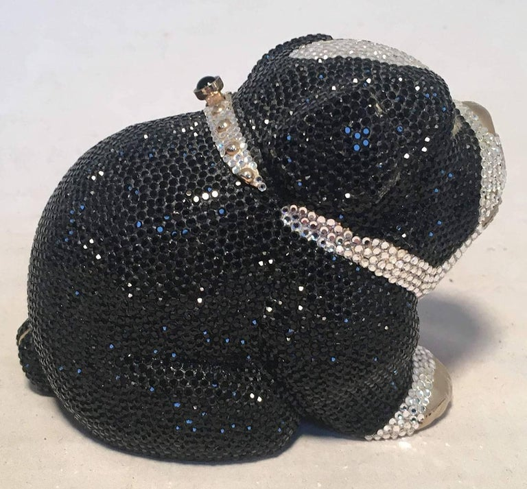 Black Judith Leiber Swarovski Crystal Bulldog Minaudiere Evening Bag For Sale
