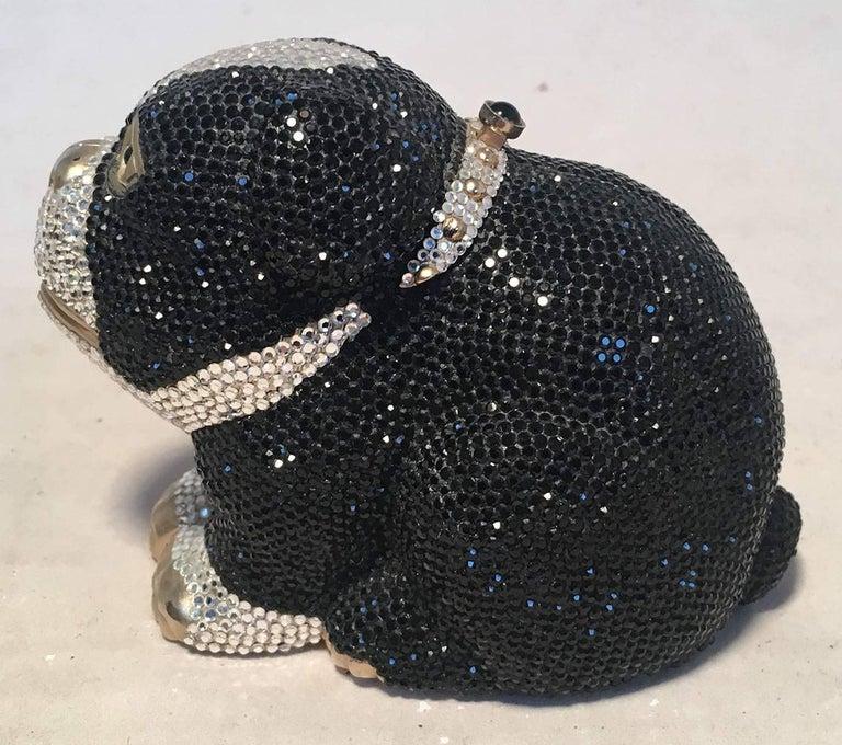 Women's Judith Leiber Swarovski Crystal Bulldog Minaudiere Evening Bag For Sale