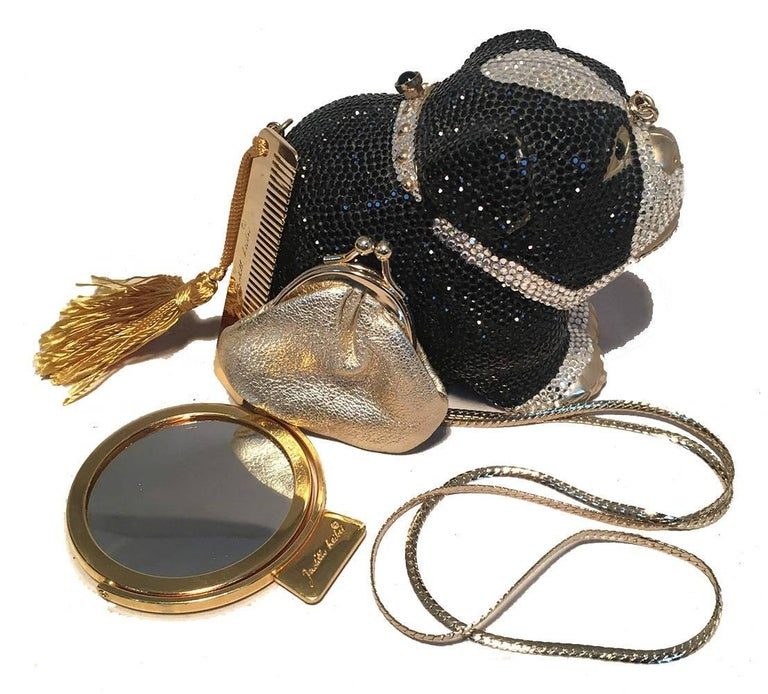 Judith Leiber Swarovski Crystal Bulldog Minaudiere Evening Bag For Sale 5