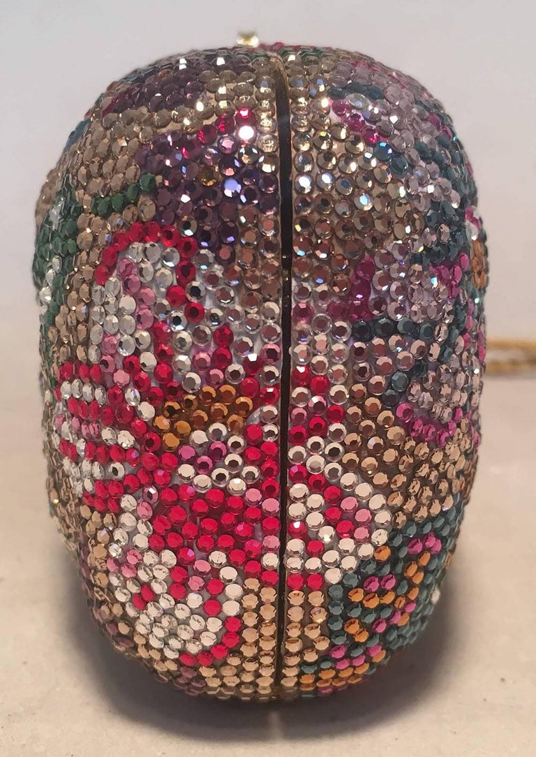 Brown Judith Leiber Swarovski Crystal Floral Print Mini Minaudiere with Tassel Rope For Sale