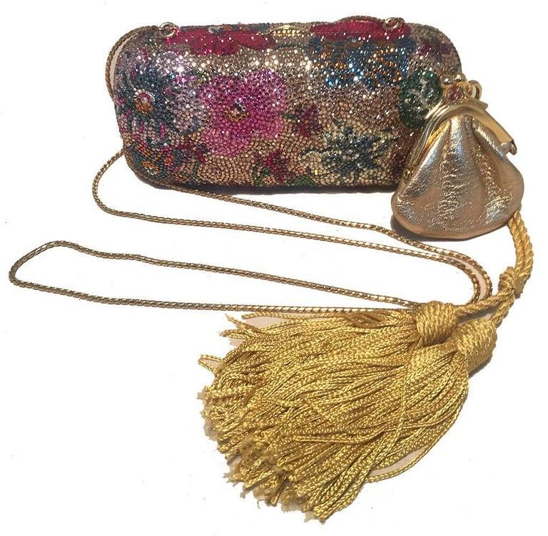 Judith Leiber Swarovski Crystal Floral Print Mini Minaudiere with Tassel Rope For Sale 3