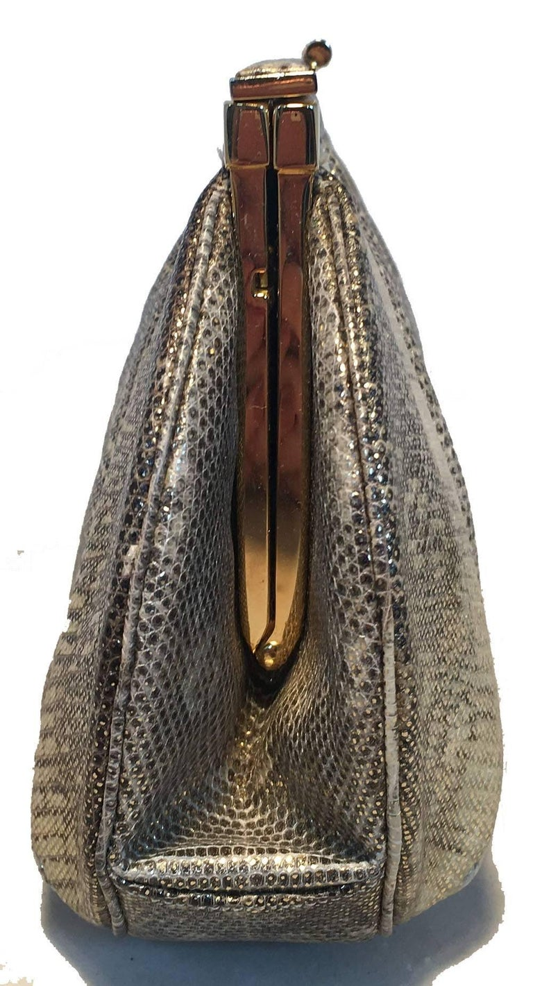 Judith Leiber Gold and Natural Gray Ring Lizard Clutch In Excellent Condition For Sale In Philadelphia, PA