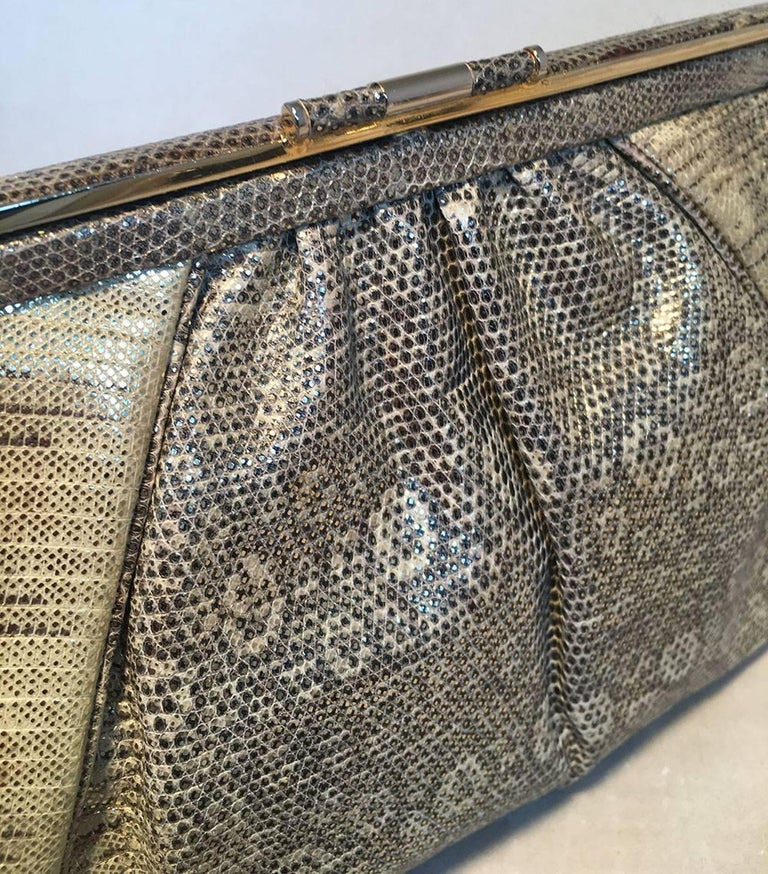 Judith Leiber Gold and Natural Gray Ring Lizard Clutch For Sale 1