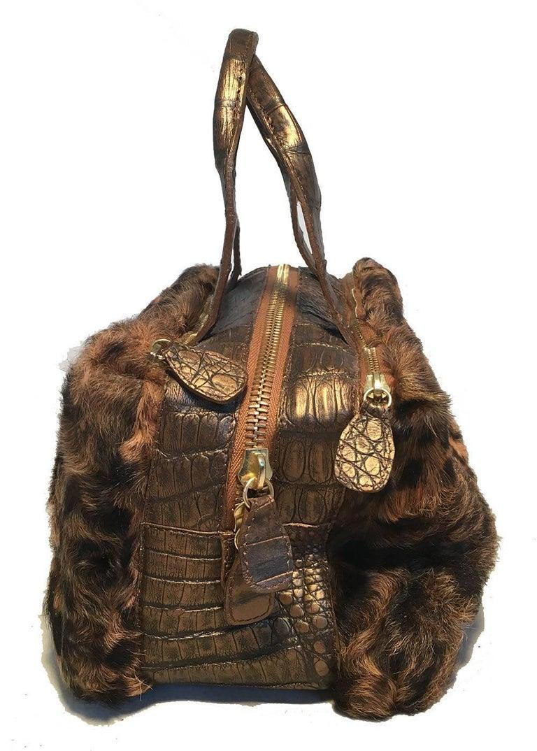 Black Nancy Gonzalez Leopard Print Fur and Crocodile Baguette For Sale