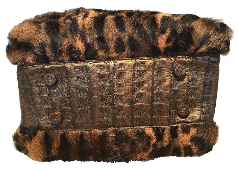 Nancy Gonzalez Leopard Print Fur and Crocodile Baguette In Excellent Condition For Sale In Philadelphia, PA