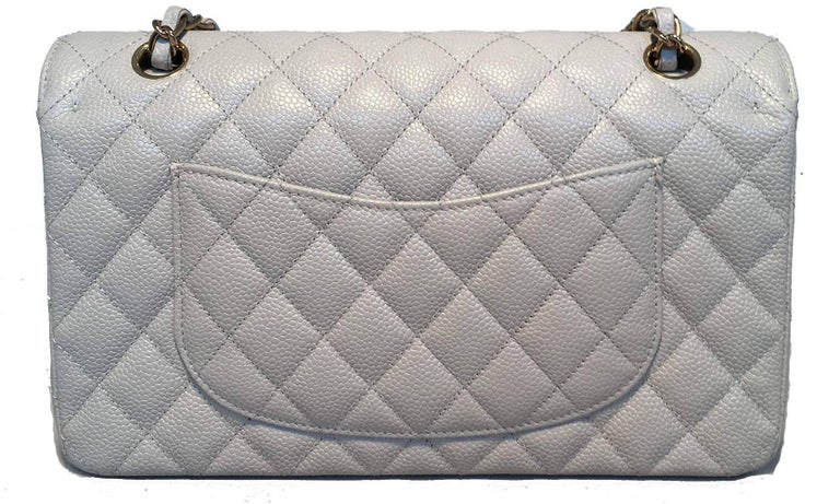 47b5d878a10c4d Chanel Light Gray Caviar 10inch 2.55 Double Flap Classic Shoulder Bag In  Excellent Condition For Sale