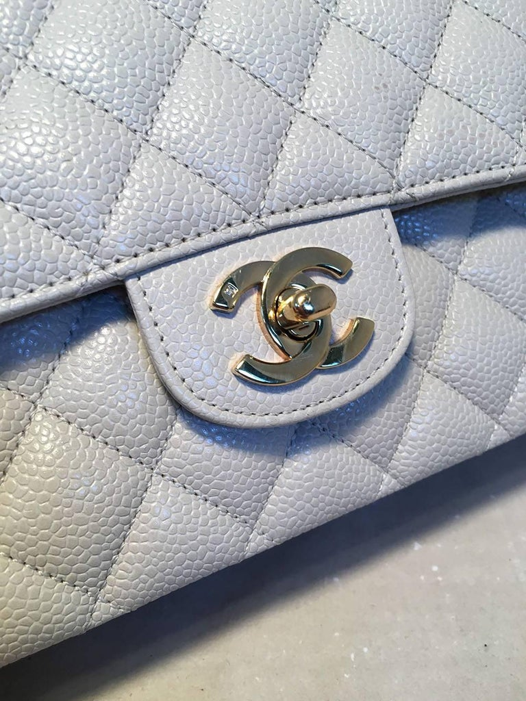 7f02efb2b14109 Chanel Light Gray Caviar 10inch 2.55 Double Flap Classic Shoulder Bag For  Sale 1