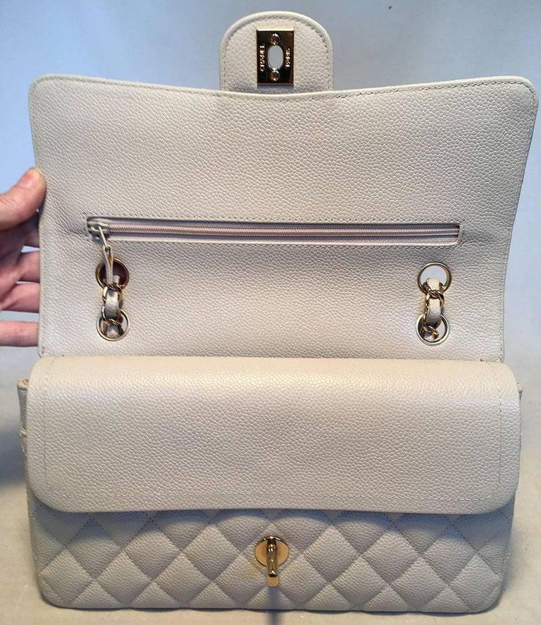 7eba34539d4dcf Chanel Light Gray Caviar 10inch 2.55 Double Flap Classic Shoulder Bag For  Sale 2