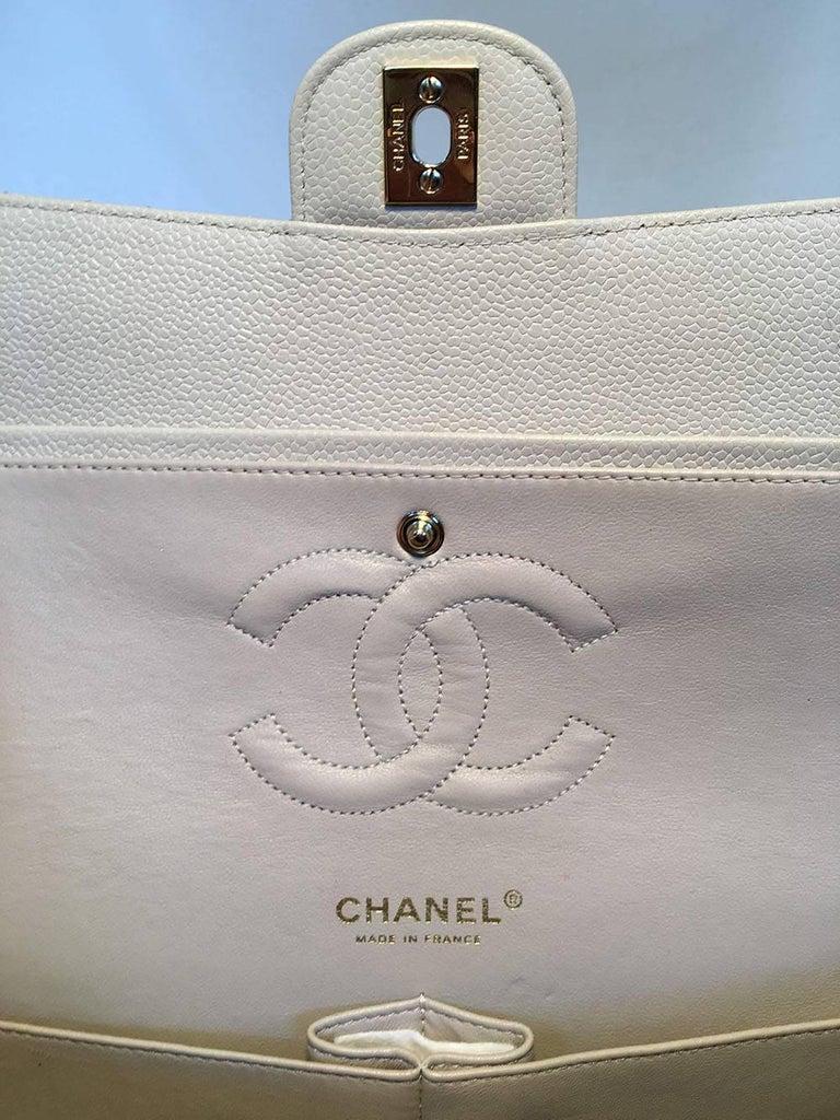 5d37688695d1b0 Chanel Light Gray Caviar 10inch 2.55 Double Flap Classic Shoulder Bag For  Sale 5