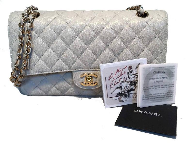 41948811af42af Chanel Light Gray Caviar 10inch 2.55 Double Flap Classic Shoulder Bag For  Sale 6
