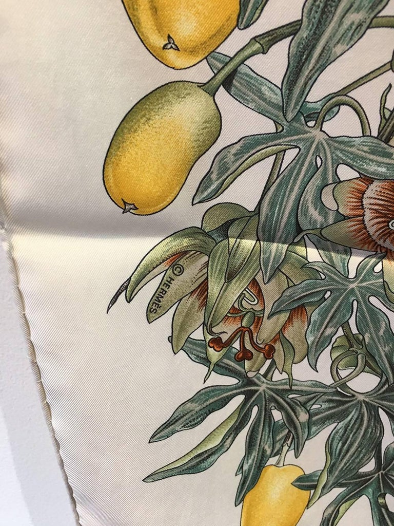 Hermes Passiflores Silk Scarf c1996 in Cream In Excellent Condition For Sale In Philadelphia, PA
