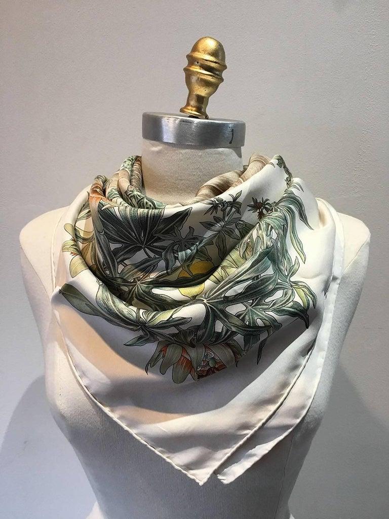 Women's or Men's Hermes Passiflores Silk Scarf c1996 in Cream For Sale
