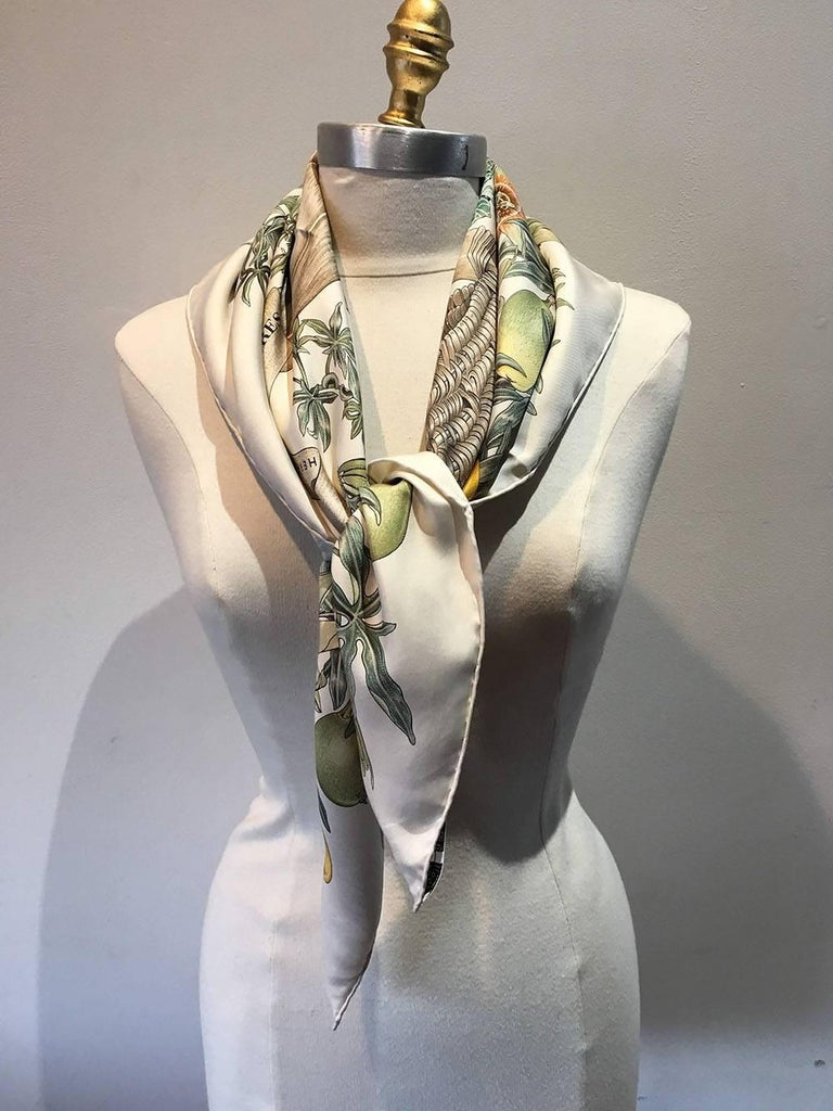 Hermes Passiflores Silk Scarf c1996 in Cream For Sale 1
