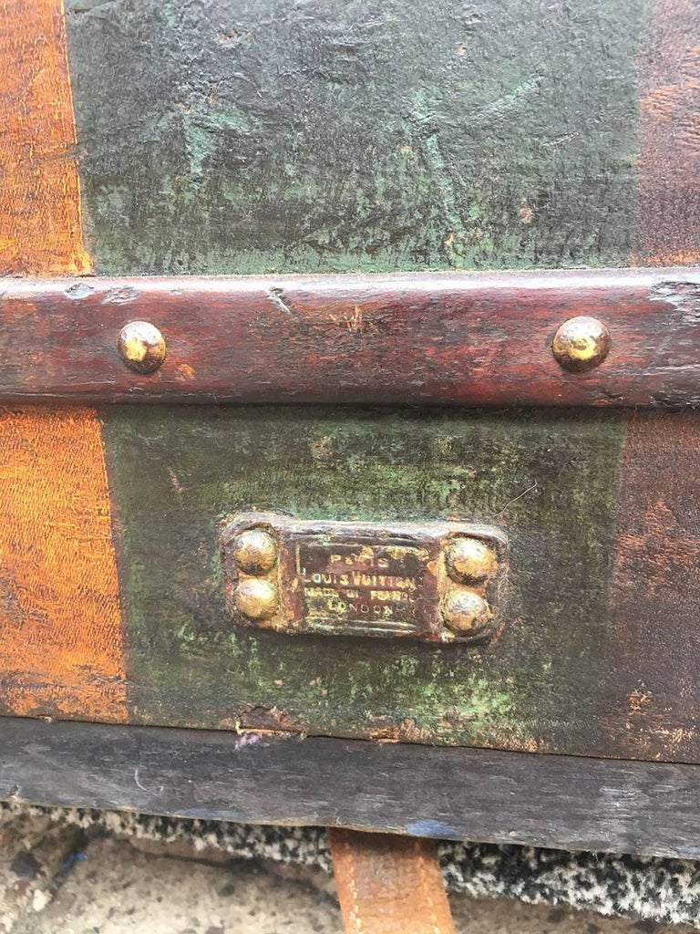 LOUIS VUITTON Antique Steamer Trunk with Orange Green Stripe c1900 For Sale 5
