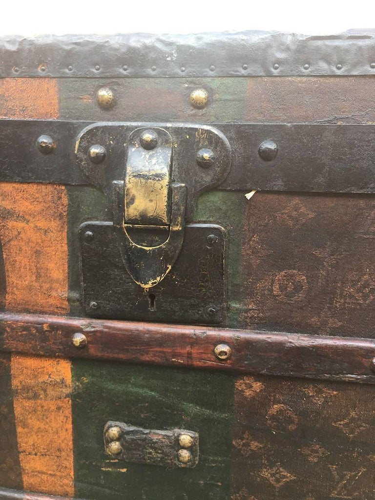 LOUIS VUITTON Antique Steamer Trunk with Orange Green Stripe c1900 For Sale 6