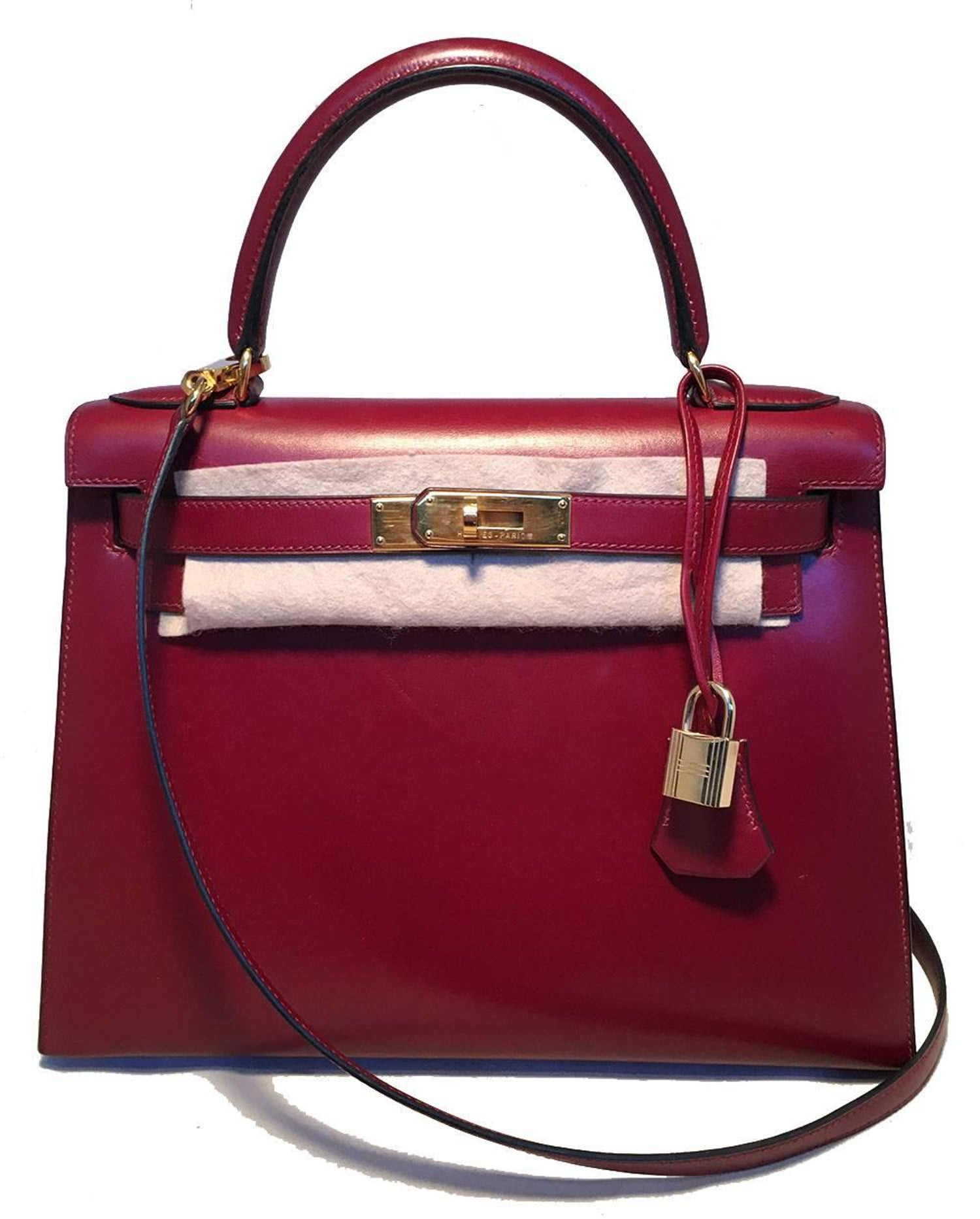 8f6ff83c9a6e Hermes Vintage Rouge Box Calf 28cm Kelly Bag with Strap at 1stdibs
