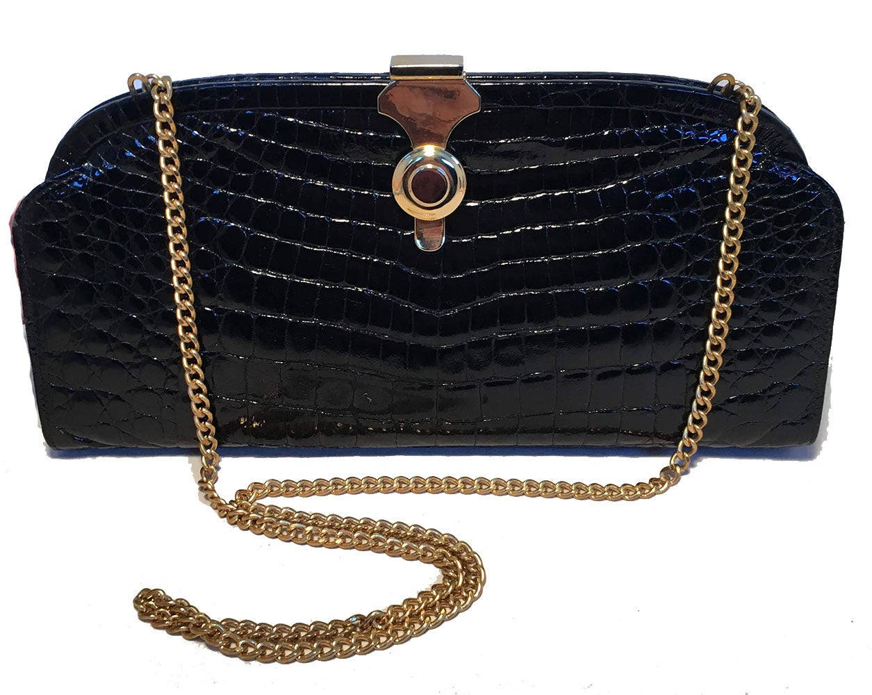 47bf8f57b61006 Vero Black Crocodile Vintage Italian Clutch For Sale at 1stdibs