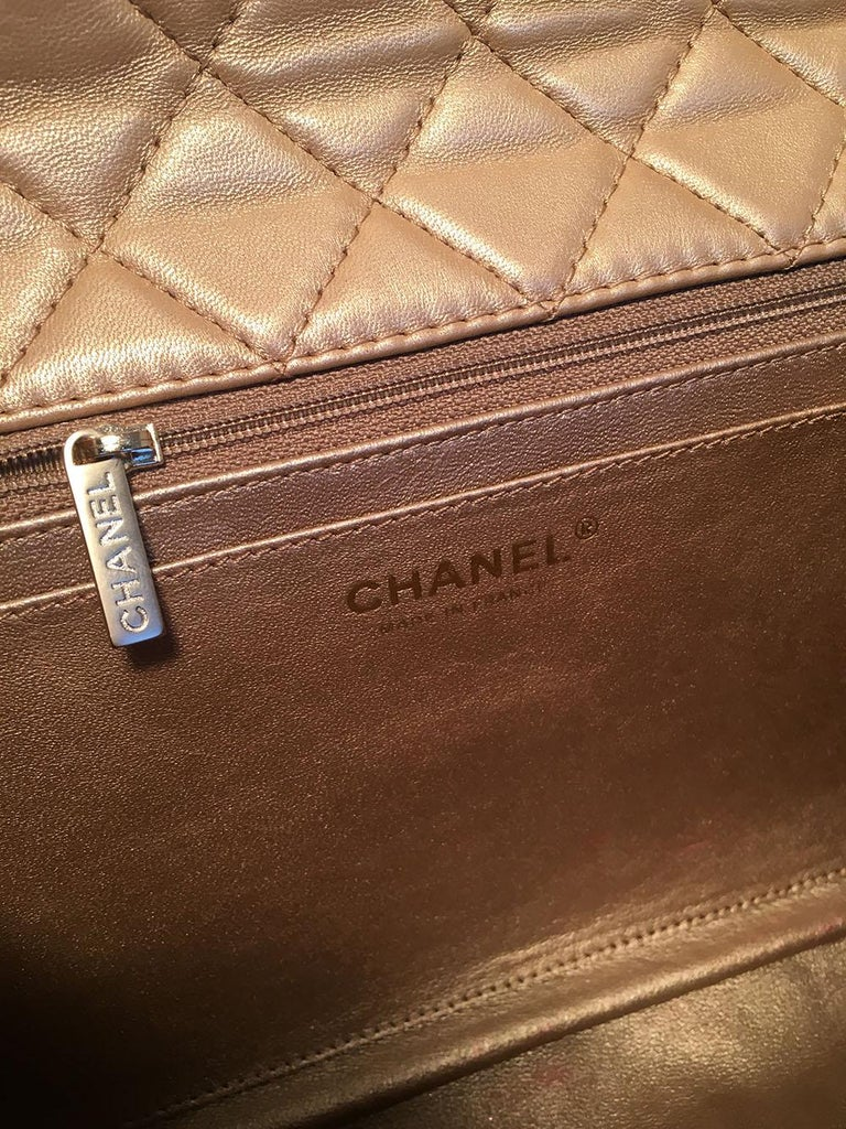 Chanel Rare Quilted Gold Leather Gemstone Closure Classic Flap Shoulder Bag For Sale 2
