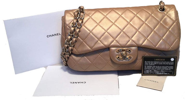 Chanel Rare Quilted Gold Leather Gemstone Closure Classic Flap Shoulder Bag For Sale 4