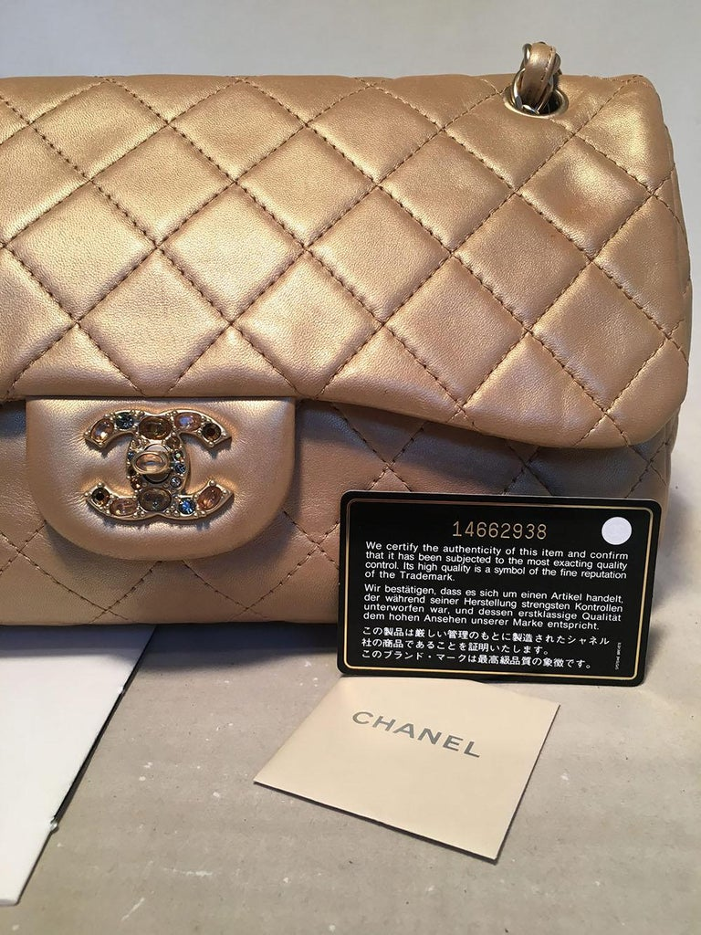 Chanel Rare Quilted Gold Leather Gemstone Closure Classic Flap Shoulder Bag For Sale 5