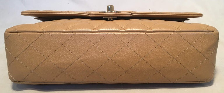 Chanel Tan 10inch Quilted Caviar 2.55 Double Flap Classic Shoulder Bag  In Excellent Condition For Sale In Philadelphia, PA