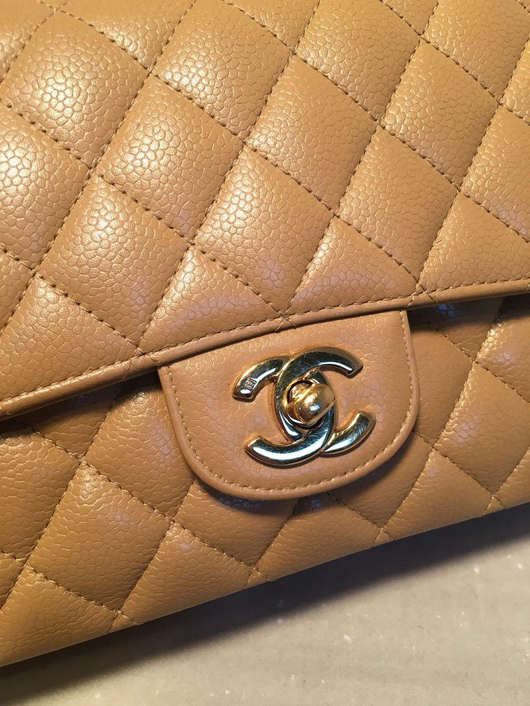 Women's Chanel Tan 10inch Quilted Caviar 2.55 Double Flap Classic Shoulder Bag  For Sale