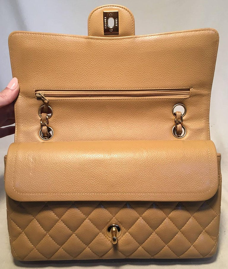 Chanel Tan 10inch Quilted Caviar 2.55 Double Flap Classic Shoulder Bag  For Sale 1