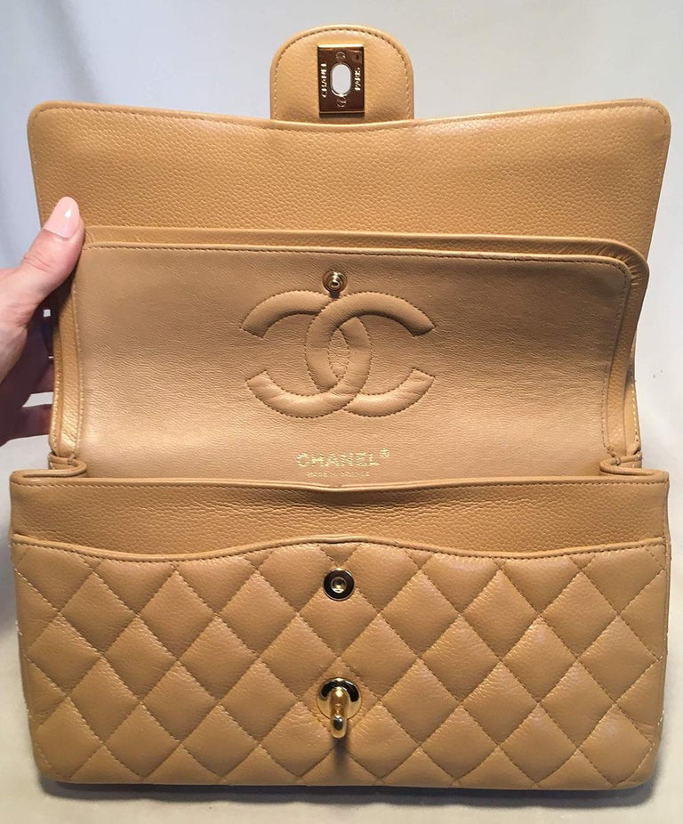 Chanel Tan 10inch Quilted Caviar 2.55 Double Flap Classic Shoulder Bag  For Sale 2